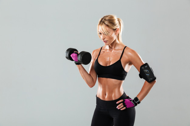 woman in steroids for sale with dumbbells